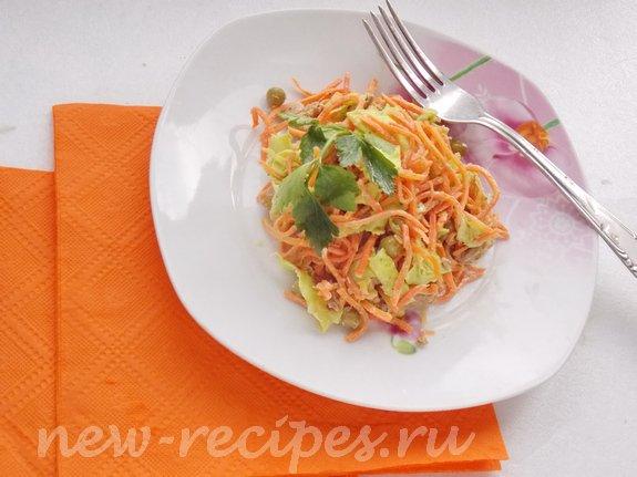 Салат в лаваше с морковкой по-корейски