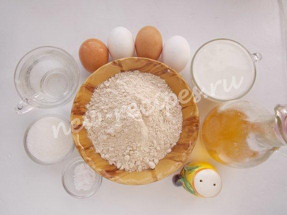 ингредиенты для блинов на кефире и кипятке