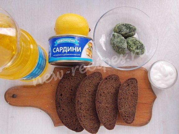 ингредиенты для бутербродов с консервированными сардинами
