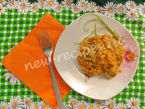 чечевица со шпинатом и тыквой