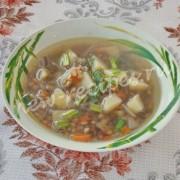суп из зелёной чечевицы