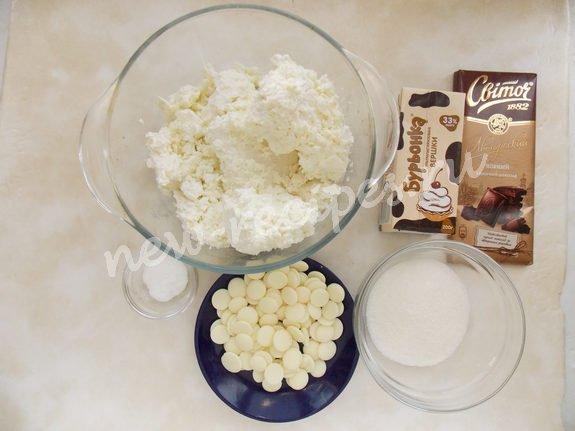 ингредиенты для творожной пасочки с шоколадом