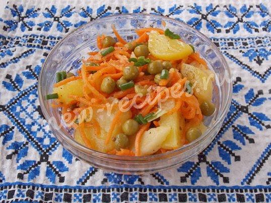 вкусный салат с картошкой и морковкой по-корейски