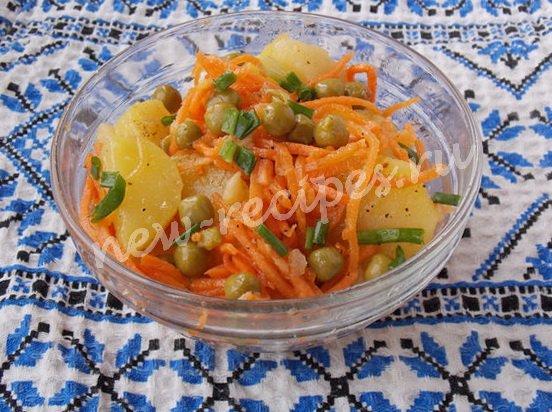 рецепт салата с картошкой,горошком и морковкой