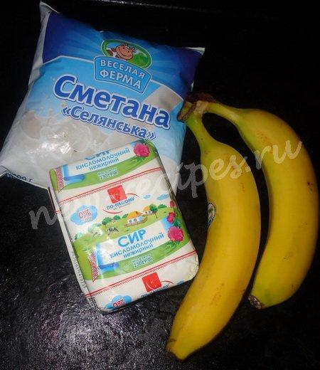 ингредиенты для десерта из творога с бананом
