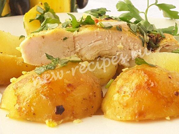 молодая картошка запечённая с кабачком и филе