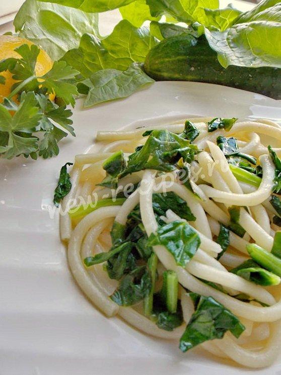 как приготовить спагетти со шпинатом