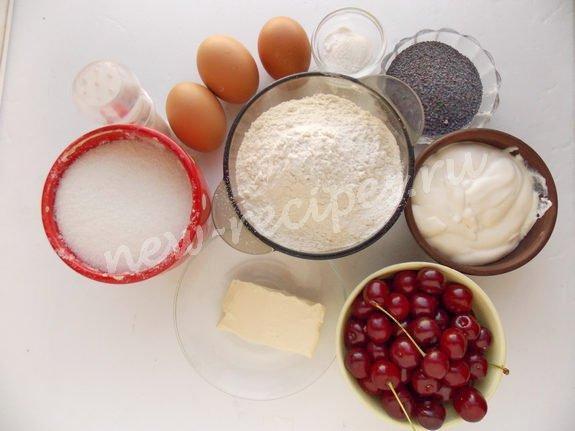 ингредиенты для кекса с вишней и маком