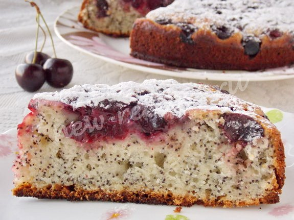 рецепт вишнёвого пирога с маком